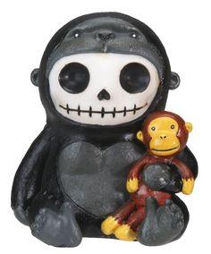 Kongo Gorilla Furry Bones Figurine Display
