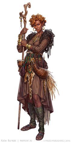 f Druid Lt Armor Staff midlvl ArtStation - Characters for Pathfinder, Ekaterina Burmak