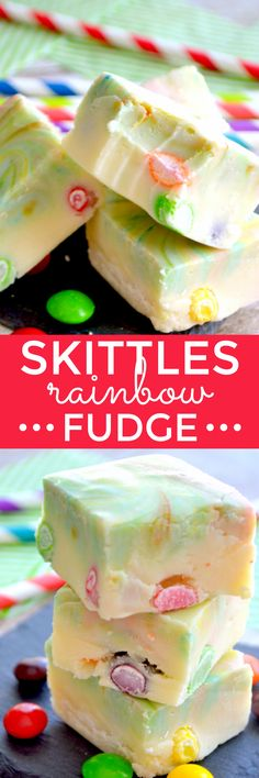 white chocolate fudge swirled with rainbow colors and stuffed with Skittles. Because St. Patrick's Day is all about FUN!Creamy white chocolate fudge swirled with rainbow colors and stuffed with Skittles. Because St. Patrick's Day is all about FUN! Fudge Recipes, Candy Recipes, Sweet Recipes, Dessert Recipes, Skittles Recipes, Skittles Cake, Easy Desserts, Delicious Desserts, Yummy Food