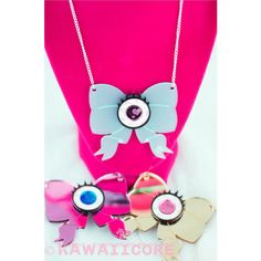 Kawaii Eyeball Bow Laser Cut Necklace Creepy Cute/Pastel Goth Inspired... ($20) ❤ liked on Polyvore