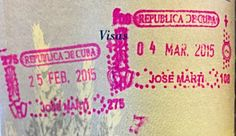 Entry and Exit stamps that you will receive in your passport upon arrival and departure from Cuba