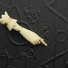 Victorian Hand Brooch. Carved Ivory. Pointing. by TheDeeps on Etsy, $120.00
