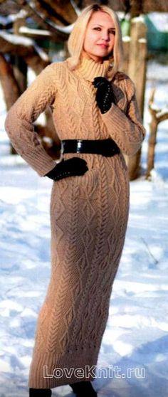 Схема вязание спицами модели и схемы длинное платье в пол с большим воротником