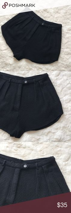 """REFORMATION women's High Waisted Shorts L Reformation women's Beautiful Black Tweed High Waisted Black Shorts.    Size: Large  In Great condition!   Waist: 28""""  Inseam: 2""""   Thank you ☺️ Reformation Shorts"""