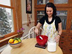 Sarah Nielsen mixes gluten-free flour for cookies in her kitchen. Gluten Free options in Milwaukee.
