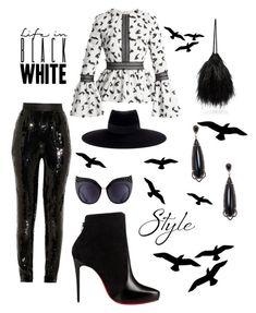 """Black / White "" by girlsbossbio on Polyvore featuring Jason Wu, Attico, HUISHAN ZHANG, Shay, Christian Louboutin, Maison Michel and Anna-Karin Karlsson"