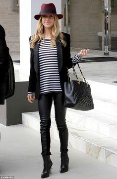 Kristin Cavallari.. Joe's Jeans Lisa Stripe Tee, Cavallari 'Caylin' Booties and Chanel Caviar GST Shopping Bag in Black..