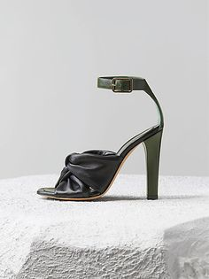 85b6cf860daed5 Celine Drapé Sandal in Black Lambskin and Forest Kidskin