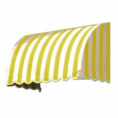 Awntech 220.5-In Wide X 36-In Projection Yellow/White Stripe Waterfall