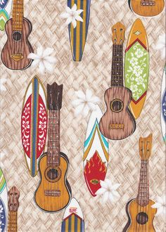 surfboards, and ukulele instruments light brown apparel cotton, Hawaiian vintage style fabric. Ukulele Instrument, Ukulele Art, Cool Ukulele, Types Of Guitar, Summer Patterns, Cellphone Wallpaper, Creative Thinking, Music Artists, Justin Young