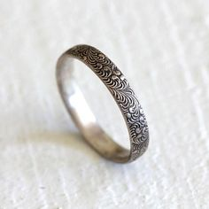 Fern ring silver patterned ring woodland pattern ring