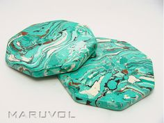 Set of 2 Coasters octagon, custom Coasters  marble coasters by MARUVOL.