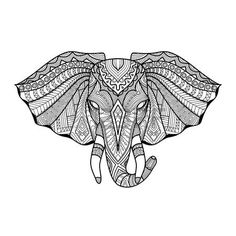 Image result for zentangle elephant head