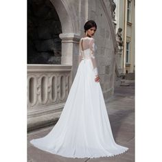 Long Sleeve Jewel Court Train Chiffon A Line Wedding Dress Acd0012 ($175) ❤ liked on Polyvore featuring dresses and wedding dresses