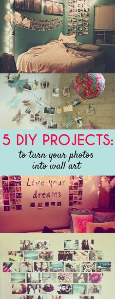 It's the Tumblr dream room, really. Your dorm should be an expression of who you are as a person; your interests, friends, music you're into, and so forth. I'll give you 5 easy DIY photo projects to turn your drab dorm decor into something both you...