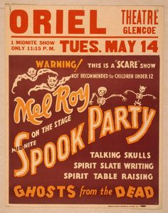 Mel Roy on the stage mid-nite, spook party talking skulls, spirit slate writing, spirit table raising, ghosts from the dead. | Library of Congress