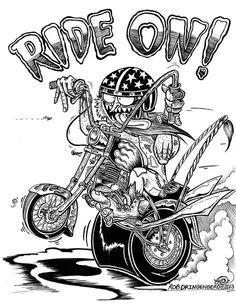 Ride On by Rob Dringenberg Kustom Kulture Canvas Fine Art Print – moodswingsonthenet Car Drawings, Cartoon Drawings, Cartoon Art, Motorcycle Art, Bike Art, Chopper Motorcycle, Ed Roth Art, Garage Art, Kustom Kulture