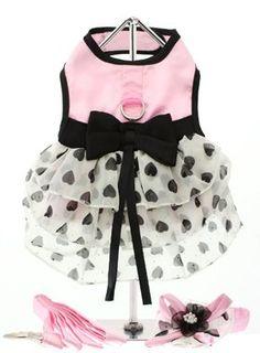 "UrbanPup Pink Satin & Hearts Chiffon Harness Dress, Leash & Hat (Large - Dog Body Length: 14"" / 35cm) $44.60"