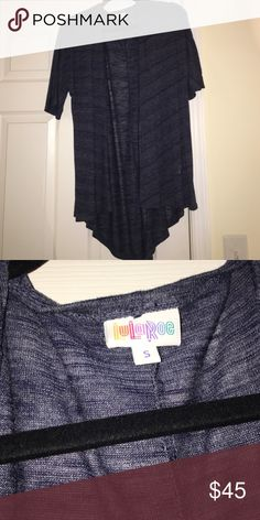 Lularoe Lindsay kimono dark blue worn once Size small. Only worn once for a few hours! No rips, stains or tears LuLaRoe Tops