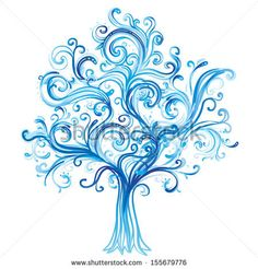 Abstract Line tree Drawings | Blue winter tree with swirls isolated on white background. Vector ...