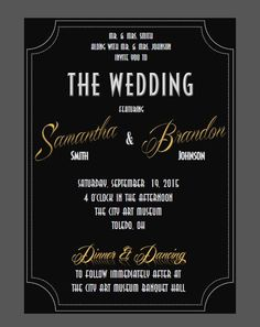 Printable Old Hollywood Wedding Invitation PDF