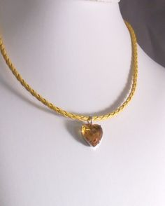NOVEMBER BIRTHSTONE: TOPAZ/CITRINE Rock Candy Topaz Yellow Crystal Heart of Glass by MatriarchbyFP
