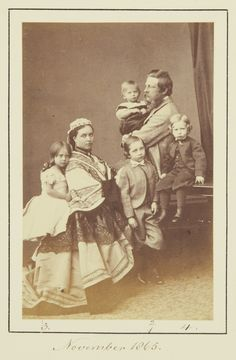 The Crown Prince and Princess of Prussia with their children, 1865 [in Portraits of Royal Children Vol.9 1865]   Royal Collection Trust