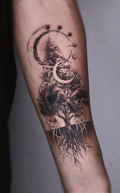 Forearm Tattoos, Body Art Tattoos, Tattoo Drawings, Ankle Tattoo, Haut Tattoo, Tree Tattoo Designs, Tattoo Ideas, Muster Tattoos, Small Hand Tattoos