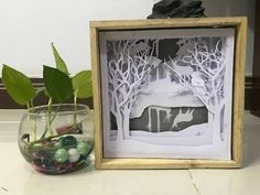DIY paper cut - How to make Light Box - Forest - YouTube