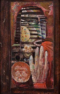 Alpo Jaakola: Sommitelma, 1959, öljy ja kollaasi levylle, 53x33,5 cm - Bukowskis F179