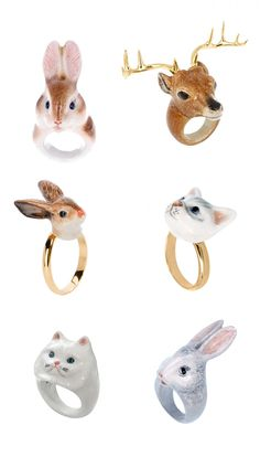 Porcelain animal rings by Nach-Bijoux