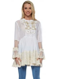 Antica Sartoria White Cotton Tunic Kaftan Top With Lace & Mesh