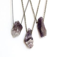 rough natural amethyst gemstone necklace