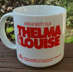 Vintage THELMA & LOUISE Coffee Mug Cup Advertising Drug Mart Discount Food Fair