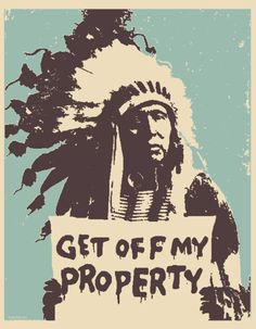 Screen printed Get Off My Property art print 12X15 2013 by bmethe