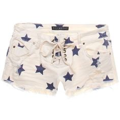 Billabong Lite Hearted Stars Shorts ($37) ❤ liked on Polyvore featuring shorts, bottoms, pants, white, distressed shorts, white jean shorts, ripped shorts, ripped jean shorts and low rise shorts
