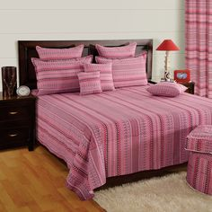 Buy Pink Flow Double Bed Sheets Online With Customized Sizes Option – Saavra Designer Bed Sheets, Luxury Bed Sheets, Double Bed Sheets, Double Beds, Bed Sheets Online, How To Look Classy, Bed Spreads, Comforters, Pillow Covers
