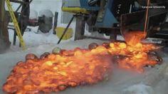 VIDEO: What Happens When Lava Meets Ice?
