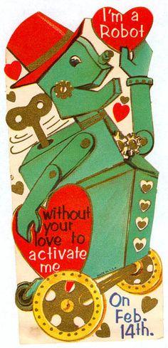 Robotic love - vintage valentine { Vintage Valentine Card / Heart / Retro Valentines / St Valentines Day / Love / Crush / offbeat / fun / unusual / Creepy Scary Strange Weird Valentine }