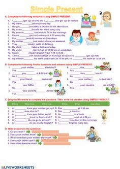 Simple Present Exercises Language: English Grade/level: Elementary School subject: English as a Second Language (ESL) Main content: Present Simple Other contents: Daily Routines English Worksheets For Kindergarten, English Grammar Worksheets, English Activities, School Worksheets, Interactive Activities, English Grammar For Kids, Teaching English Grammar, English Lessons For Kids, Grammar Exercises