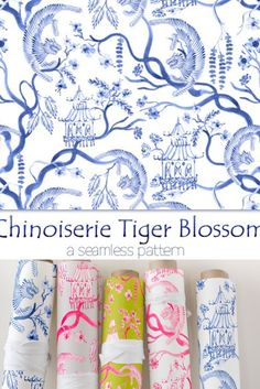 Chinoiserie Tiger Blossom - Hand painted Watercolour - Seamless Pattern - 36 x 26 inches Tigers scampering through a Chinoiserie wonderland! I hand painted each element. For the tiger, I painted each stripe individually, and then superimposed each one on top of a tracing outline of a vintage tiger illustration.