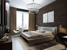 Schlafzimmer in braunen Farbtönen mit Lederbett