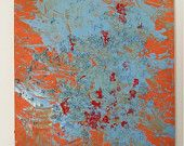 In fondo - acrilico astratto su tavola 50 x 70 contemporaneo arancio blu