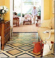 Chão pintado imitando tapete