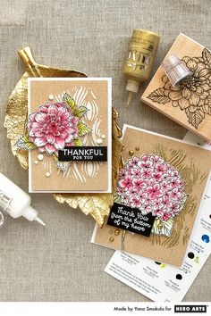 Video: 3D Decoupage Technique with Artistic Dahlia and Large Hydrangea stamps. Thank You Cards by Yana Smakula for Hero Arts