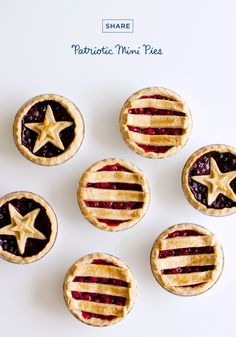 These patriotic mini pies are the perfect little desserts for your Fourth of July barbecue. Recipe a 4th Of July Desserts, Fourth Of July Food, 4th Of July Celebration, Mini Desserts, Holiday Desserts, Holiday Treats, Just Desserts, Holiday Recipes, July 4th
