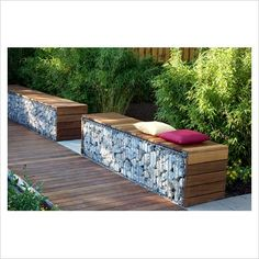 Contemporary garden seating made out of gabions- the wood softens the industrial feel a bit Garden Seating, Outdoor Seating, Outdoor Spaces, Outdoor Living, Outdoor Decor, Bamboo Hedge, Gabion Wall, Garden Spaces, Garden Furniture