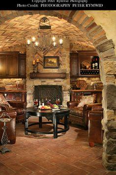 Wine Cellar Sitting Area - traditional - wine cellar - new york - Carisa Mahnken Design Guild Zigarren Lounges, Wine Cellar Basement, Home Wine Cellars, Wine Cellar Design, Wine Tasting Room, Rustic Home Design, Basement Remodeling, Bars For Home, Log Homes