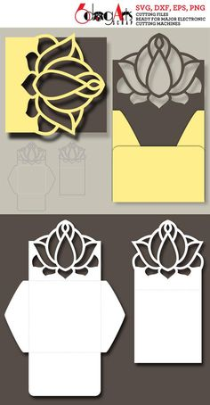 Lotus Lace Card and Envelope template - vector digital files to use for your crafting projects. WHAT YOU WILL RECEIVE You will receive this set of card and envelope designs in 4 file formats: SVG (vector file - unlimited resizing with no quality loss) DXF (vector file - unlimited resizing Diy Paper, Paper Art, Paper Crafts, Cajas Silhouette Cameo, Cardboard Box Crafts, Diy Gift Box, Cricut Cards, Card Envelopes, Diy Arts And Crafts