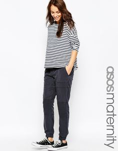 Image 1 of ASOS Maternity Washed Jogger With Biker Detail